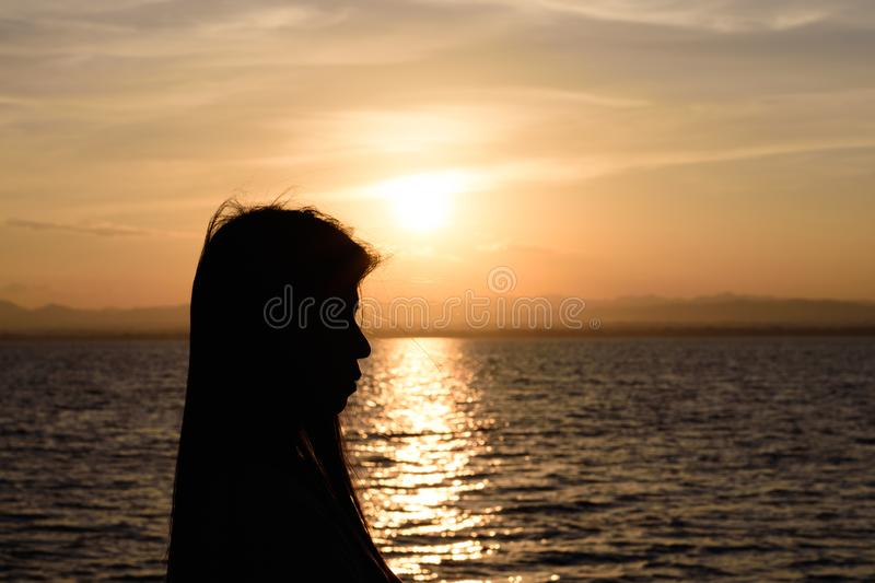 The silhouette of Long-haired woman royalty free stock photo