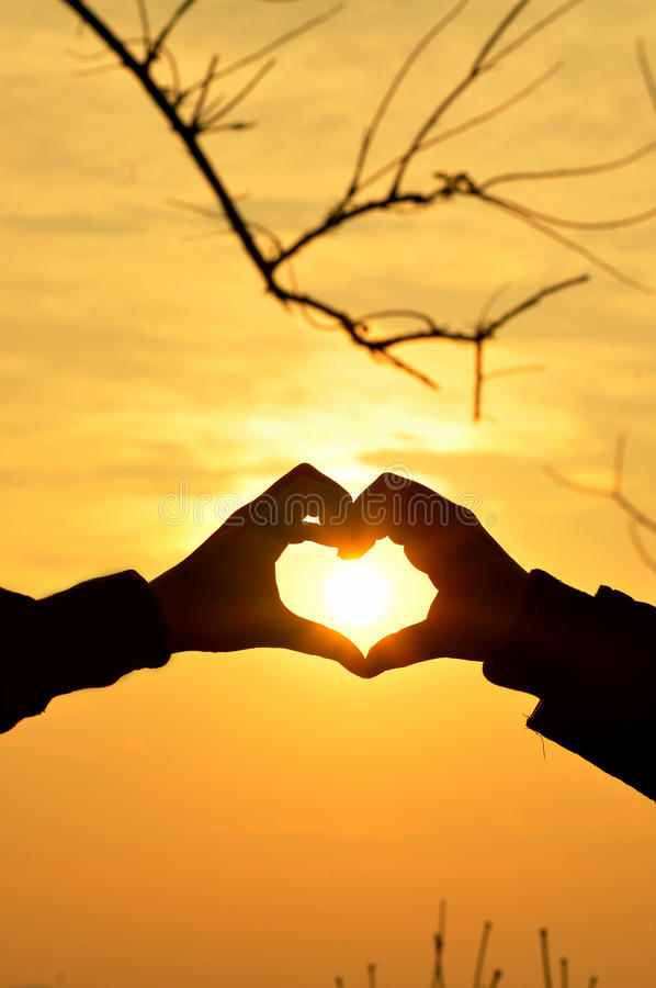 Silhouette love. Silhouette of abstract love with sunset, Thailand royalty free stock photo