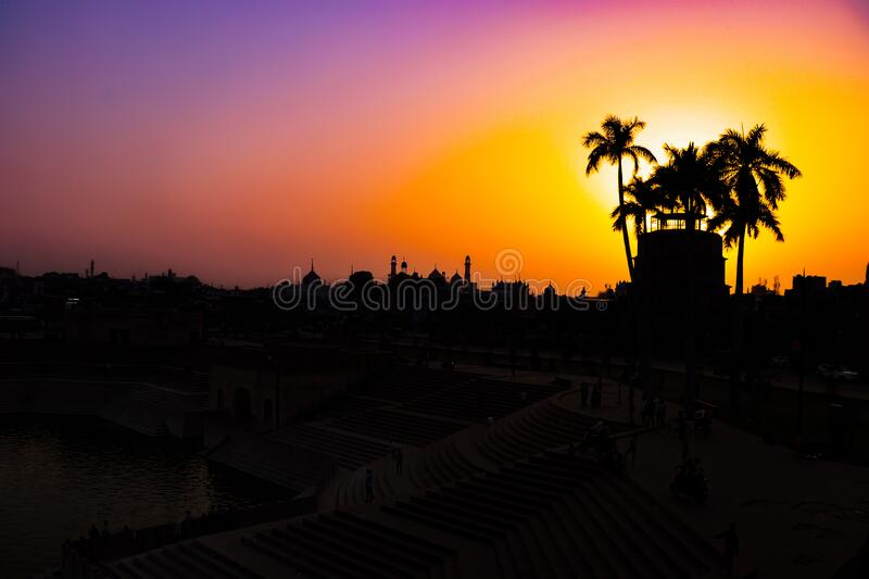 The Silhouette of Lucknow, India. Beautiful silhouette of Lucknow, Uttar Pradesh, India stock photography