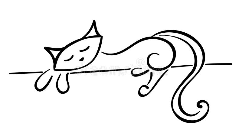 Silhouette of a lying black cat stock illustration