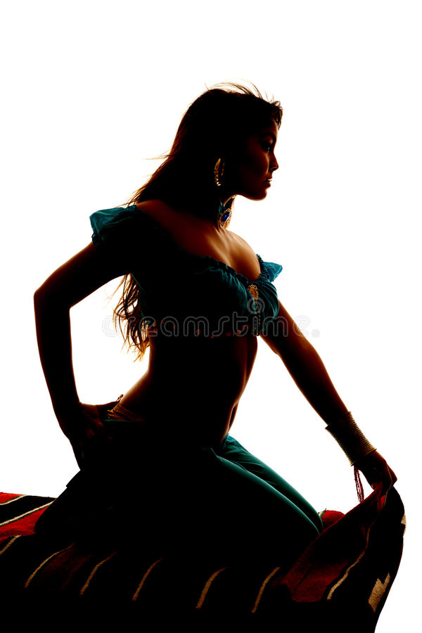 Silhouette on magic carpet arm back. A silhouette of a woman on a magic carpet stock image