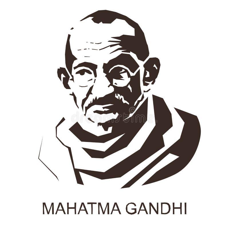 Silhouette Mahatma Gandhi royalty free illustration