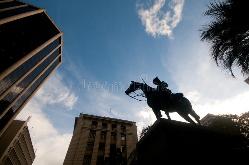 Silhouette of majestic horse soldier knight in the city centre. In Brisbane Australia stock image