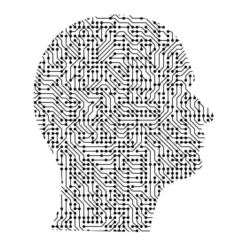 Silhouette of male head on the side from black printed board, ch royalty free illustration