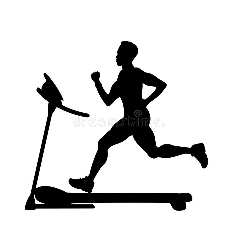 Silhouette of male runner on a treadmill. Fitness and jogging concept,isolated on white background,flat vector illustration stock illustration
