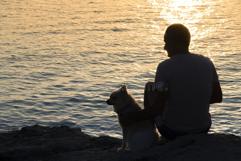 Silhouette of male and small dog sitting together at seaside and looking at the sunrise. Friendshep of a man and animal.  stock image