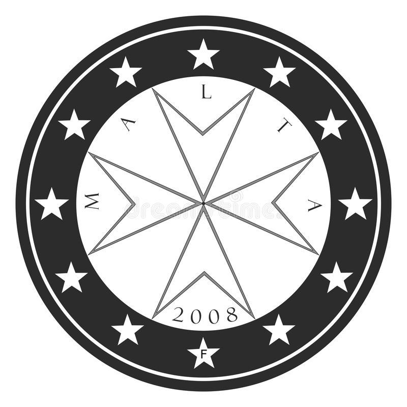 Silhouette Maltese Coin stock image