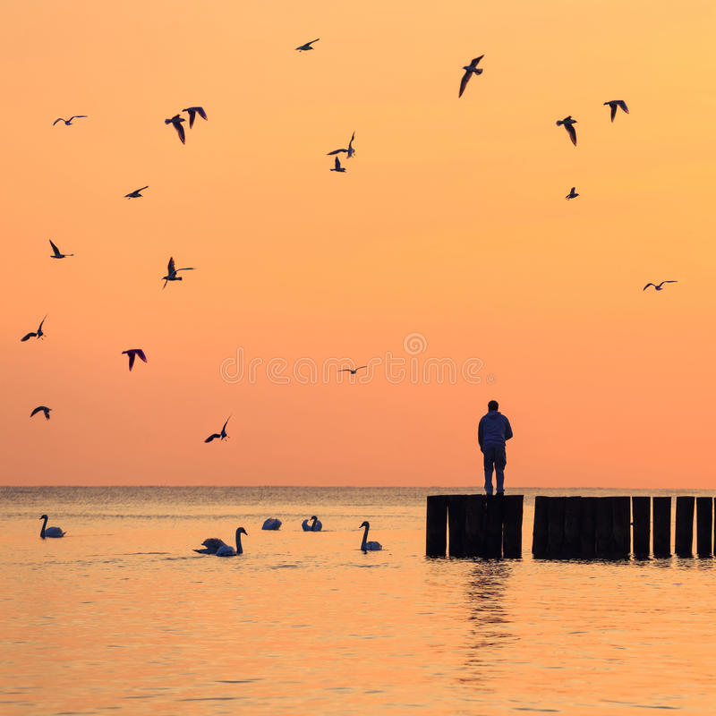 Silhouette of a man against the sky at sunrise stock images