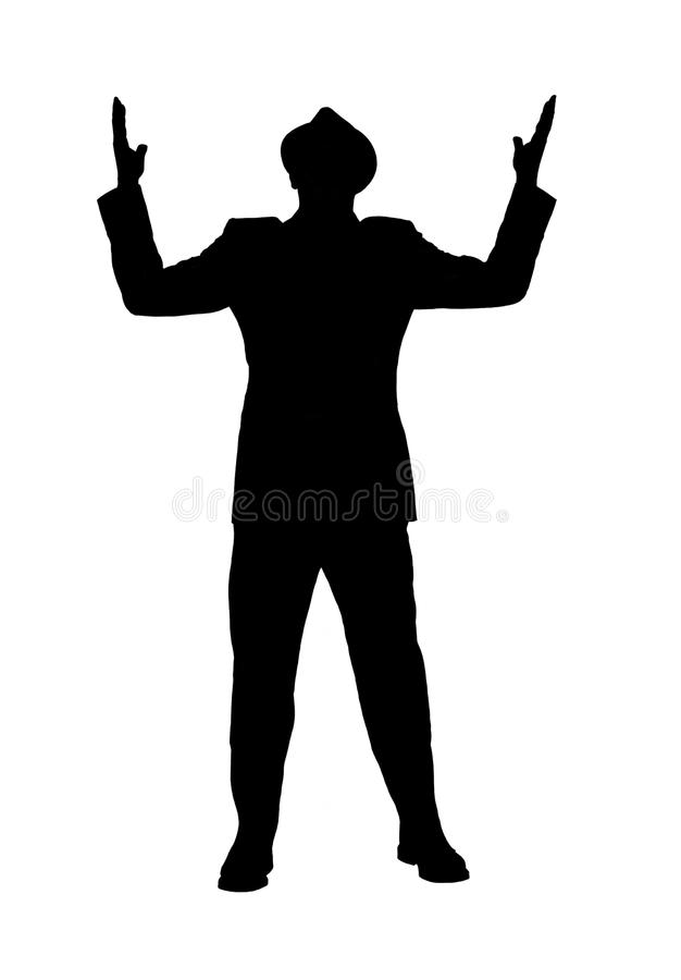 Silhouette of a Man With Arms Raised as if Saying Why?. Silhouette of a man in a suit and hat with looking to heaven with his arms raised as if he is saying why royalty free stock photos