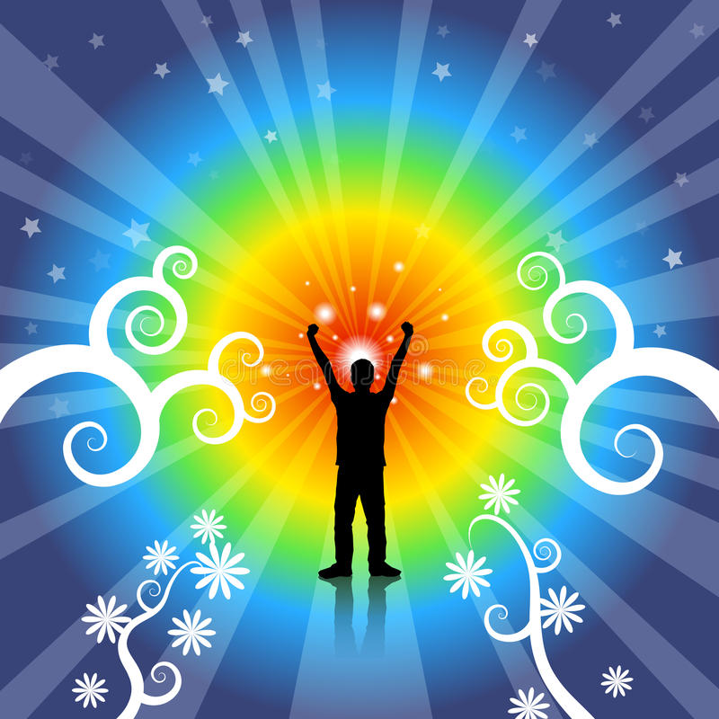 Creative Freedom. Silhouette of a man with arms up in the air surrounded by a rainbow flare and stars vector illustration