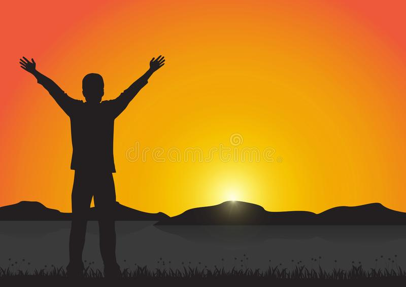 Silhouette of man with arms up with cheerful on golden sunrise background, successful life concept royalty free illustration