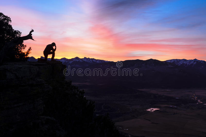 Sunrise Contemplation above Ridgway Colorado stock photo