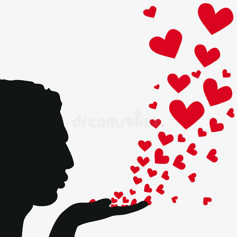 Silhouette man blowing heart royalty free stock image