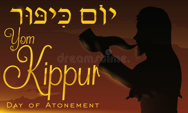 Silhouette of a Man Blowing a Shofar for Yom Kippur, Vector Illustration. Banner with silhouette of a Jewish man blowing a Shofar horn in the dawn of Yom Kippur stock illustration