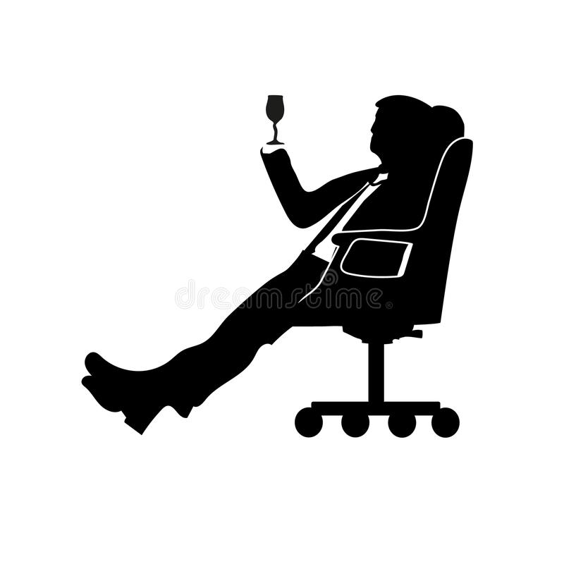 Silhouette man businessman sitting in a modern chair with one leg over the knee. Thinks. To drink. Success. royalty free illustration