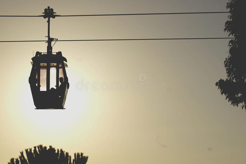 Silhouette Of Man In Cable Cart Free Public Domain Cc0 Image