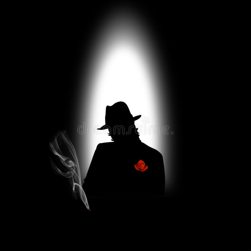 Silhouette of a man with a cigarette. On a black background vector illustration