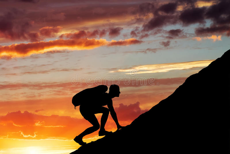 Download Silhouette Of A Man That Climbs The Mountain Stock Image - Image: 33513663