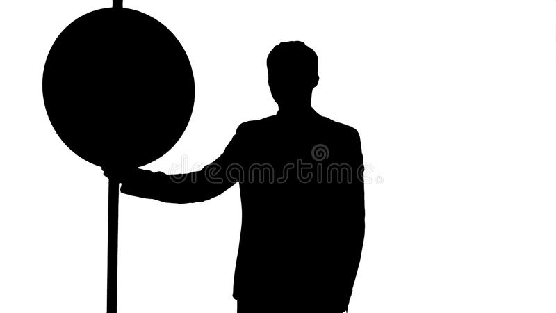 Silhouette Man cross walk sign vector illustration