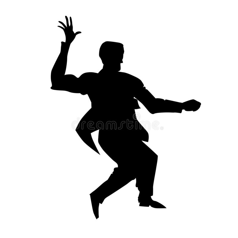 Silhouette of man dance lindy hop. Retro dancer for poster, flyer studio of social dances. Vector black and white illustration. vector illustration