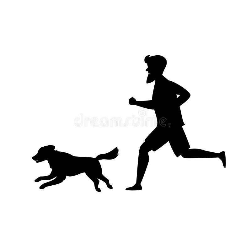 Silhouette of a man and dog running together royalty free illustration