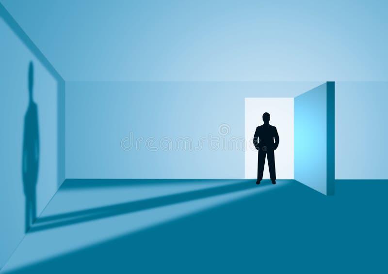 Silhouette man in door vector illustration