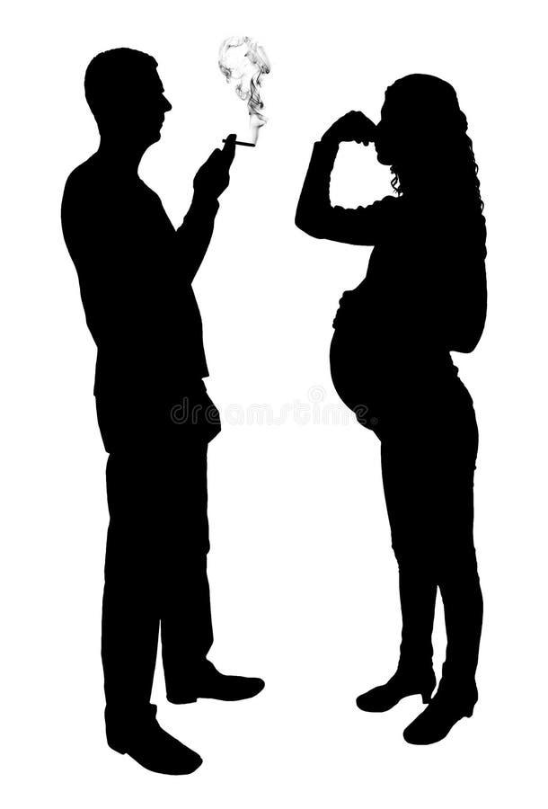 Silhouette of a man egoist smoking near a pregnant woman royalty free illustration