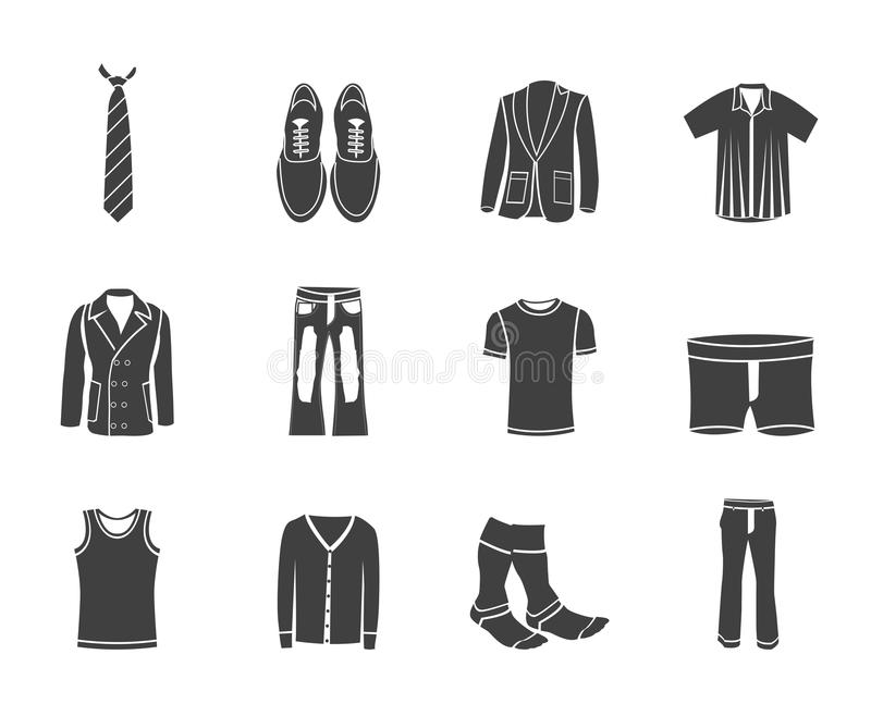 Silhouette man fashion and clothes icons stock illustration