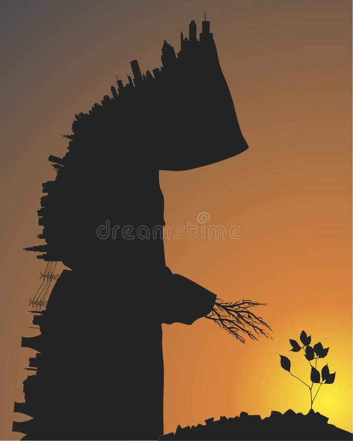 City and trees. The silhouette of a man in the form of a city reaching for nature. Vector format