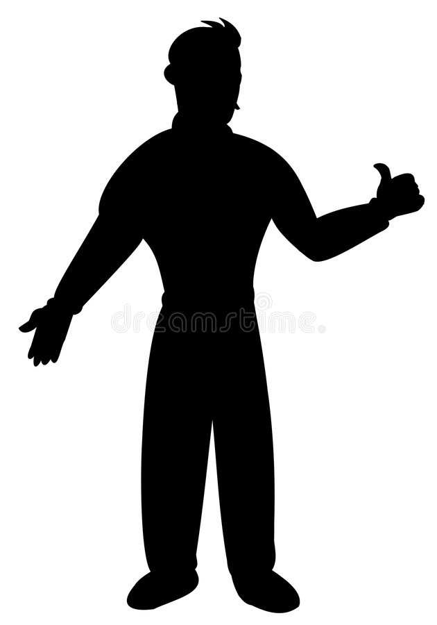 Silhouette of man gesturing OK royalty free stock image