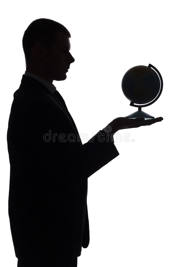 Silhouette of man with globe. Isolated on white silhouette of man with globe stock images