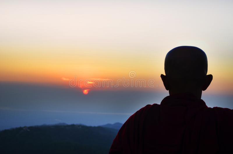 Silhouette of Man during Golden Hour stock images