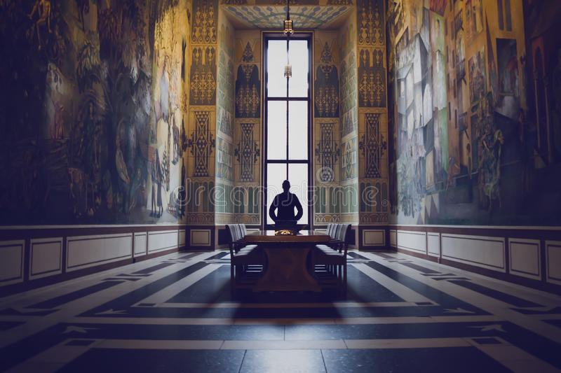 Download Silhouette Of Man In A Grand Hall Stock Image - Image of decorated, magnus: 50077569