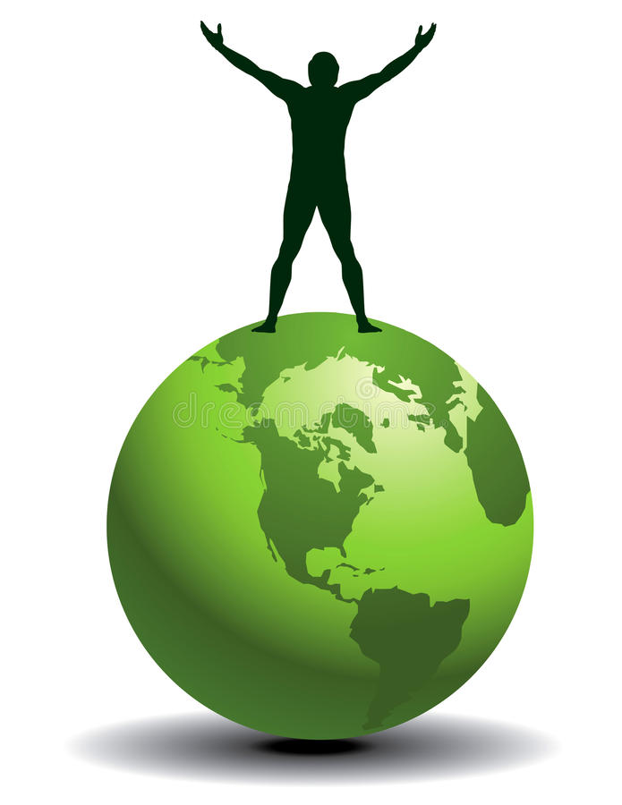 Silhouette man on green globe. Illustrated silhouette of a man with upraised arms standing on a green globe. Copy space for text. Also available in vector format royalty free illustration