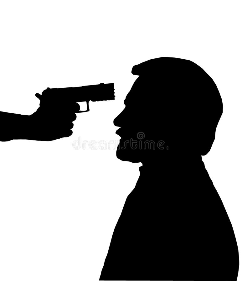 Silhouette Of Man With Gun Against Head Royalty Free Stock ...