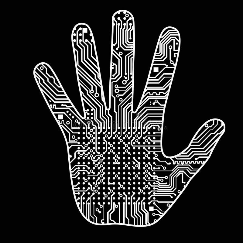 Silhouette of a man hand with a high-tech computer circuit board pattern It can illustrate scientific ideas related to vector illustration