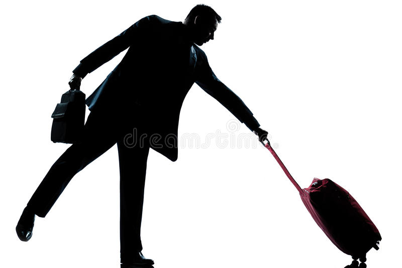 Download Silhouette Man With His Suitcase Pulling Him Stock Image - Image: 22477169