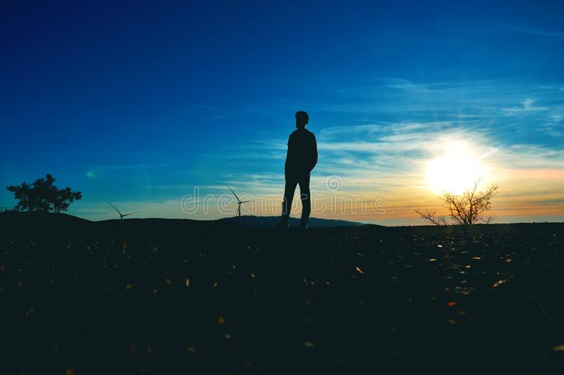 Silhouette of Man Near Tree Photo stock photography