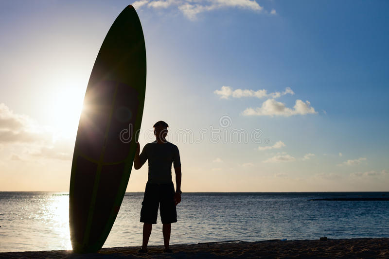 Silhouette Of A Man With Paddle Board Stock Image Image