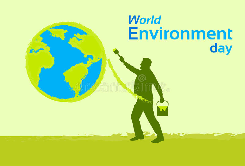 Silhouette Man Painting Earth Globe Green World Environment Day. Flat Vector Illustration royalty free illustration
