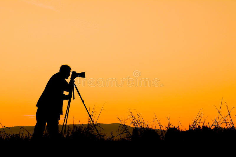 Silhouette of man photograph nature. At sky sunrise in the morning royalty free stock photography