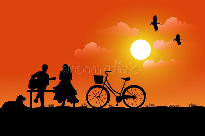 silhouette of a man playing a guitar for a woman to listen, having a dog and a bicycle beside him. Has a sunset background royalty free illustration