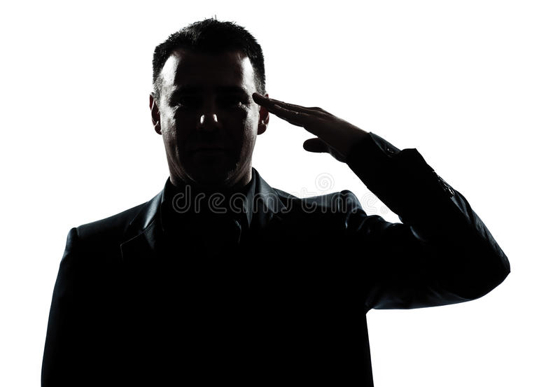 Silhouette man portrait army salute. One caucasian man army salute gesture portrait silhouette in studio isolated white background stock photography