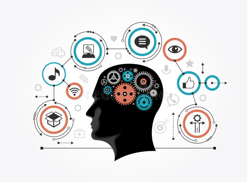 Silhouette of a man`s head with gears in the shape of a brain surrounded by icons stock illustration
