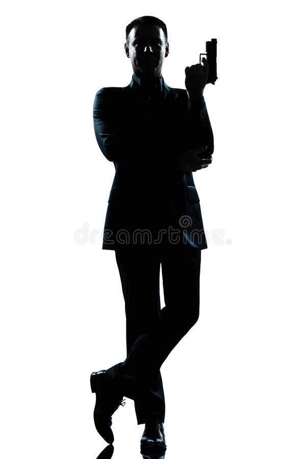 Free Silhouette Man Secret Agent James Bond Posture Royalty Free Stock Photo - 24769045