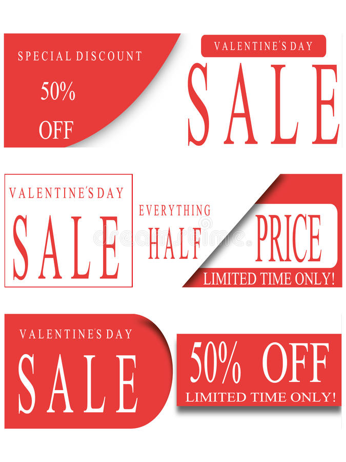 Banner 50% discount sale, Valentine's Day stock illustration