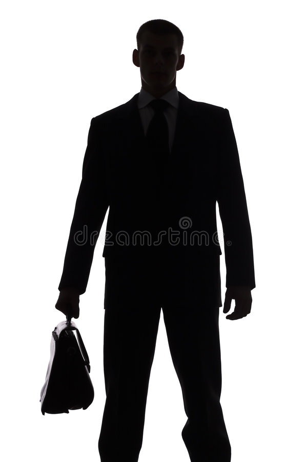 Download Silhouette Of Man With Suitcase Stock Image - Image: 1245635