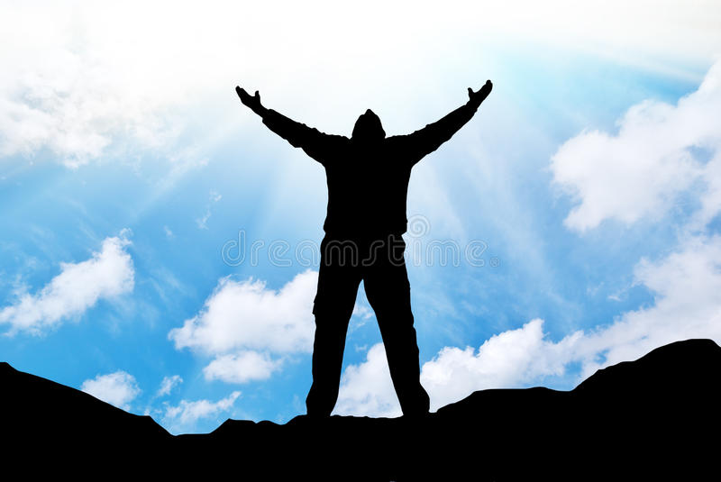 Silhouette Of Man And Sunshine Stock Photos