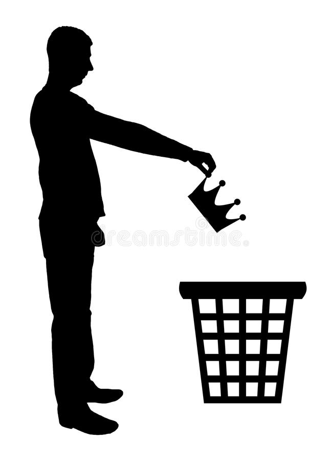 Silhouette of a man throws a crown in the garbage bin stock illustration