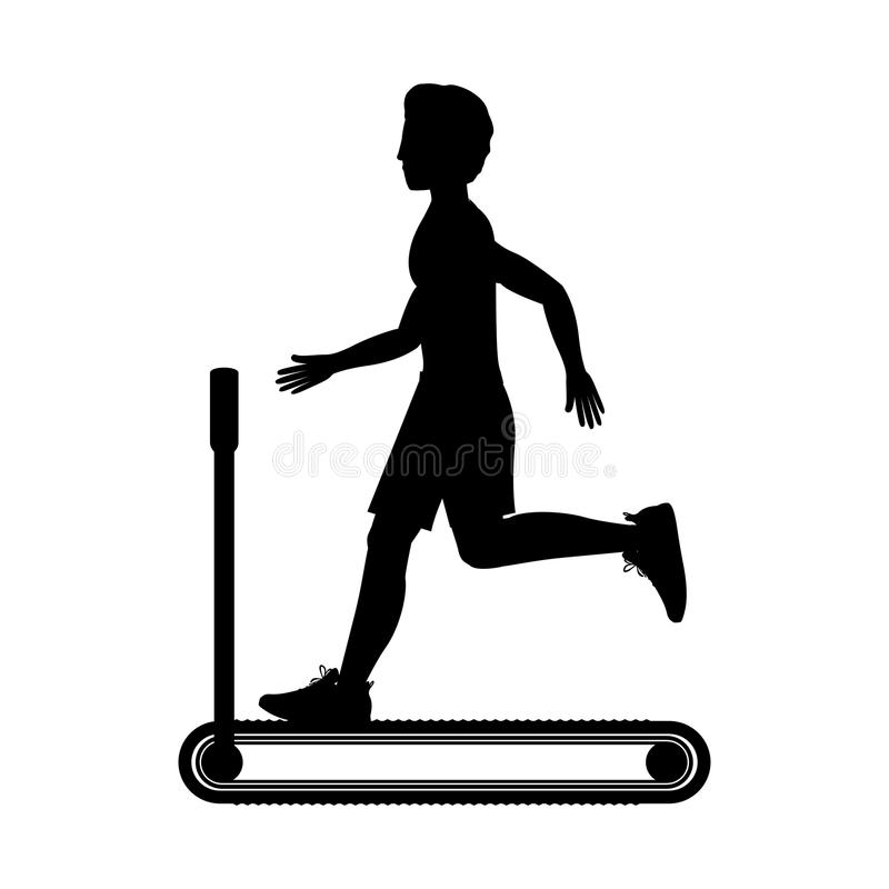 Silhouette with man in treadmill. Vector illustration royalty free illustration